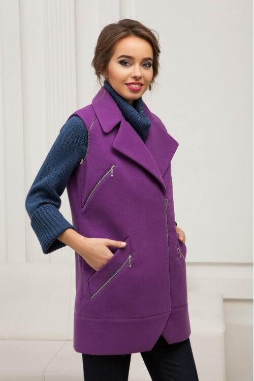 Пальто-жилет фиолетовое