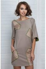 Платье с нашивками бежевое