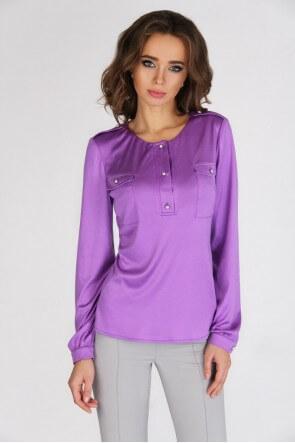 Блузка шелковая сиреневая