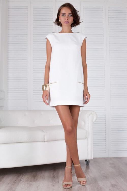Платье белое прямое