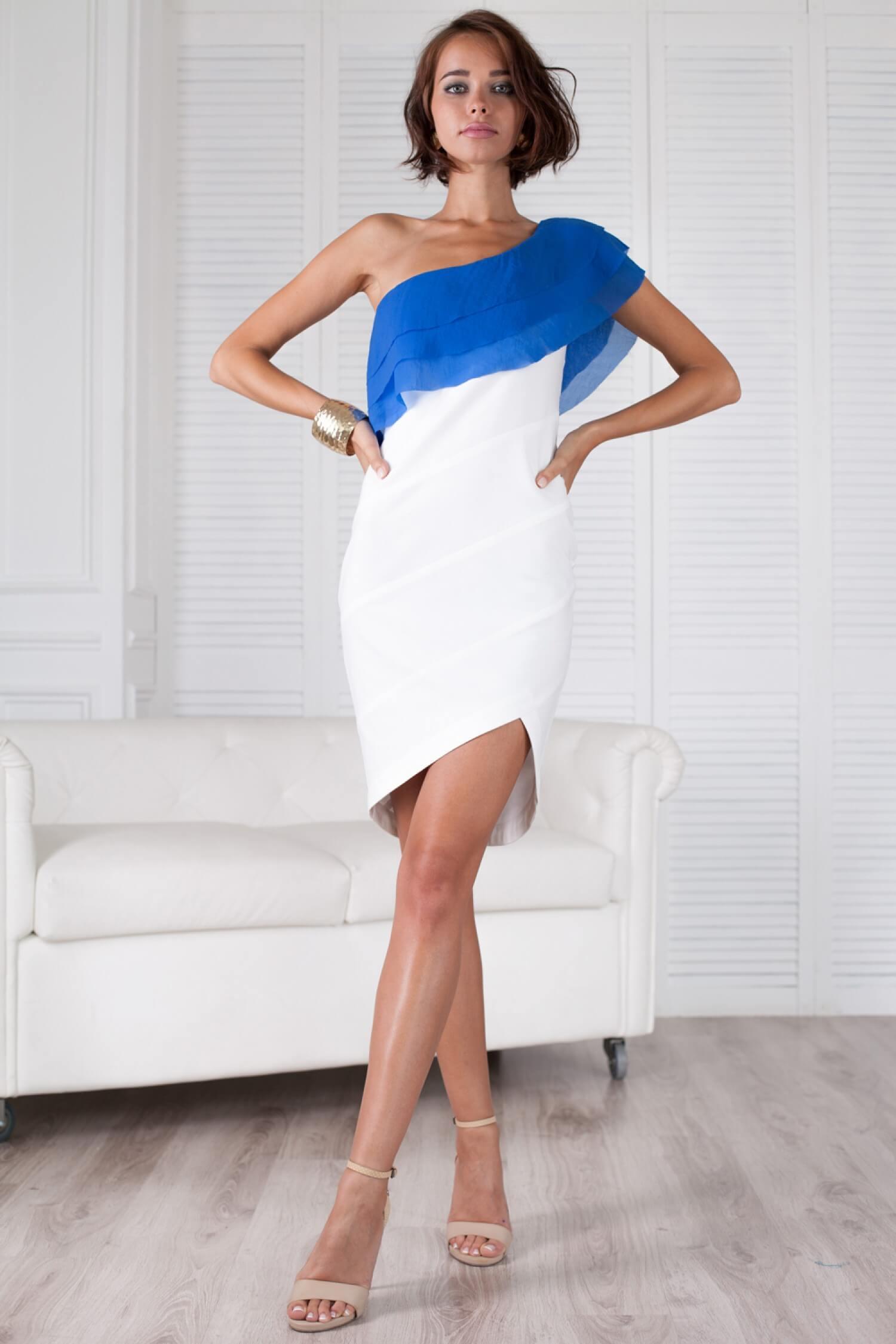 Сине белое платье