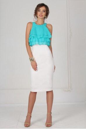 Платье мятный волан