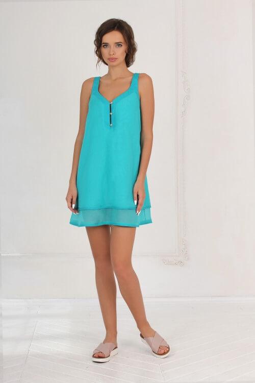Платье-колокольчик бирюзовое