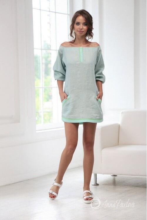 Платье нежно-салатовое