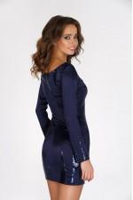Платье с пайетками темно синее