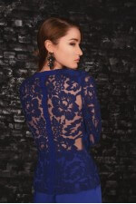 Блузка синяя кружевная