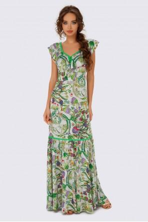Платье в пол с воланами