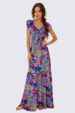 Платье в пол с воланами фиолетовый принт