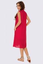 Платье-рубашка алое