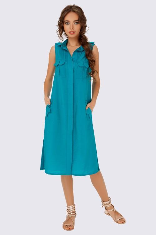 Платье-рубашка изумрудное