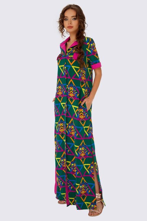 Платье-рубашка макси с принтом