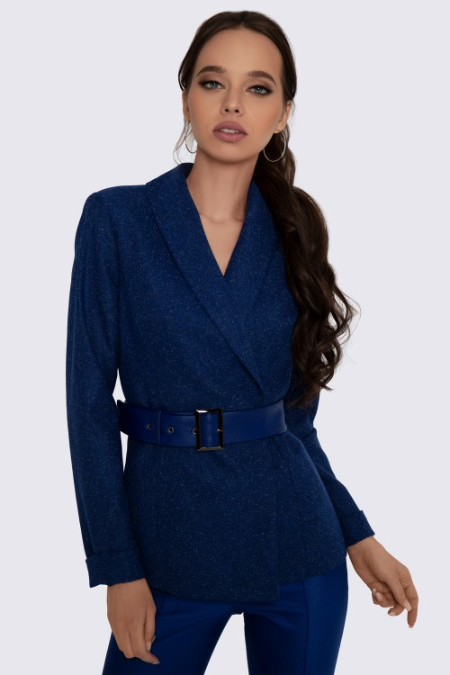 Жакет синий с поясом