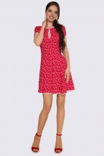 Платье красное мини в цветочный принт