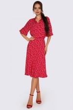 Платье красное в цветочный принт