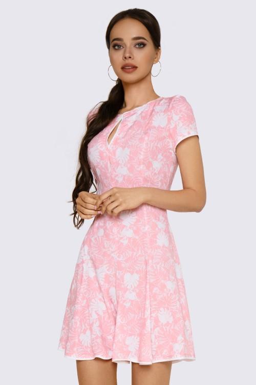 Платье мини нежно-розовое