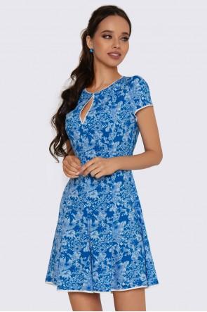 Платье мини в синий принт