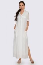 Платье рубашка макси белое