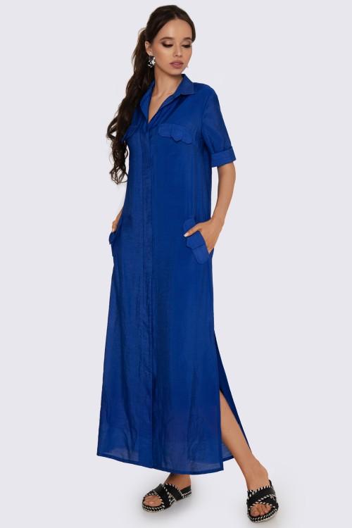 Платье-рубашка макси синее