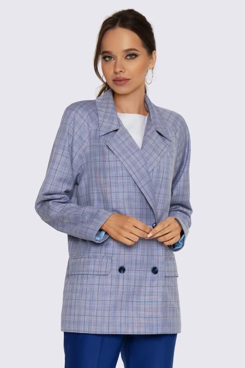Пиджак синий в клетку