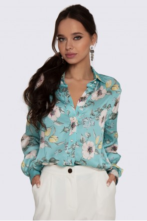 Рубашка шелковистая в мятный принт