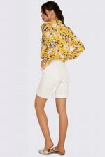Рубашка шёлковистая в желтый принт
