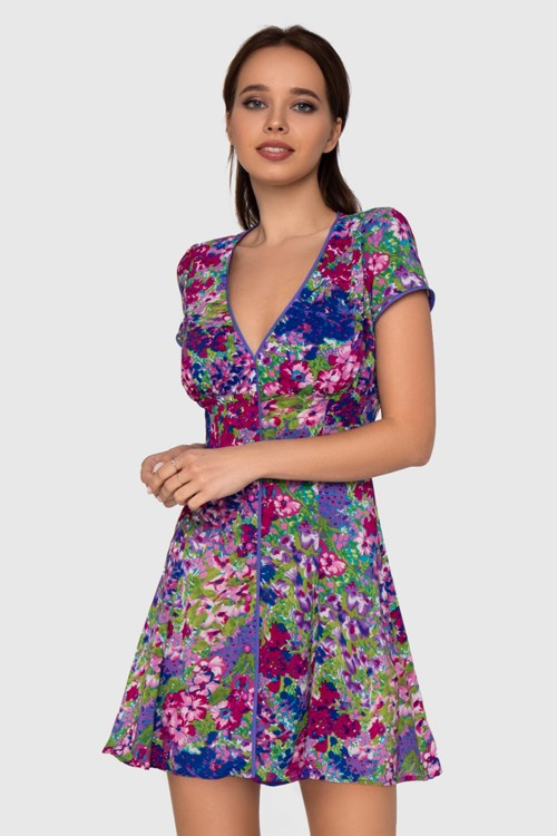 Платье мини в цветочный принт