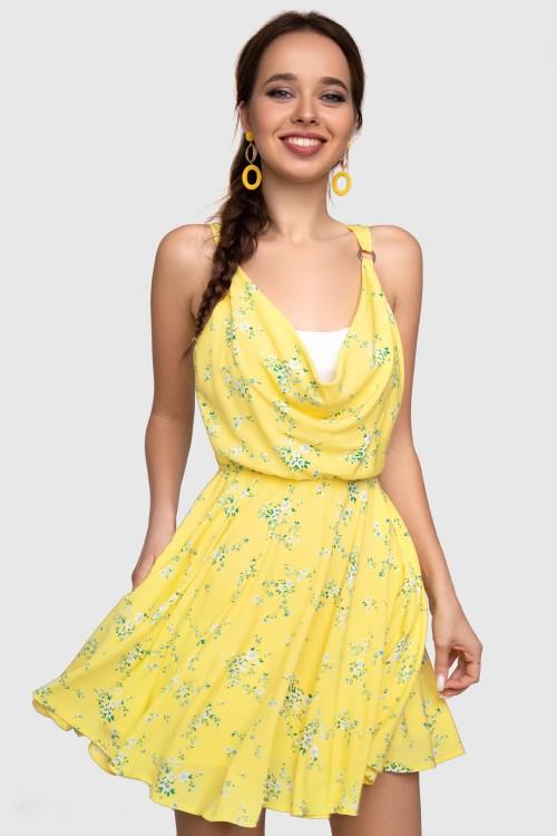 Платье жёлтое с белым топом