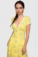 Платье жёлтое миди