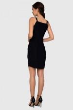 Платье черное на кнопках с карманами