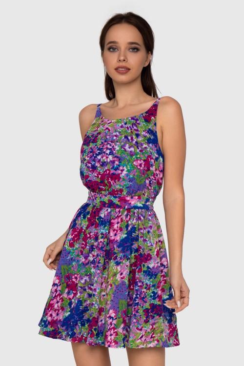Платье с открытой спиной в цветочный принт