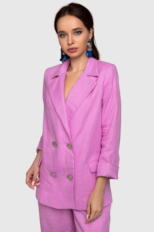 Пиджак льняной розовый