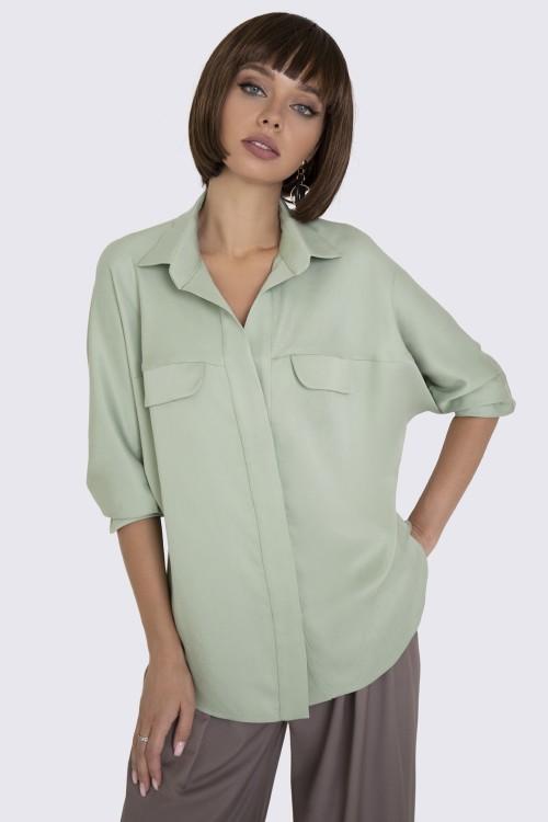 Блузка хаки свободного кроя