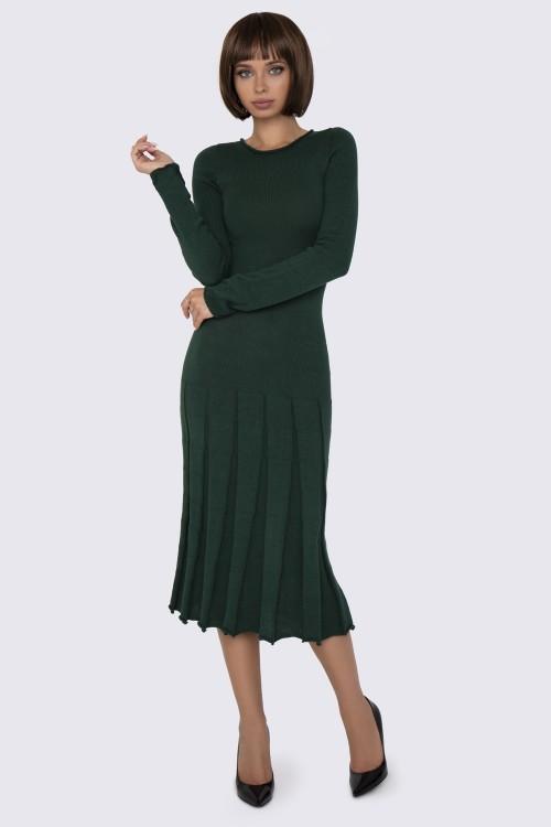 Вязаное Платье зеленое миди