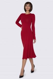 Вязаное Платье красное миди
