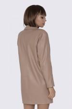 Платье-пиджак кожаное бежевое