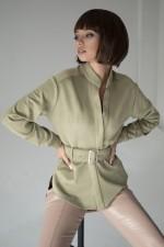 Блузка хаки замшевая с поясом