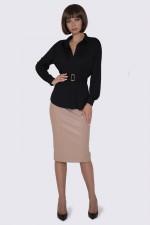 Блузка черная трикотажная с поясом