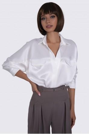Блузка белая шелковистая