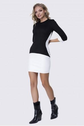 Платье черное с белой кожей