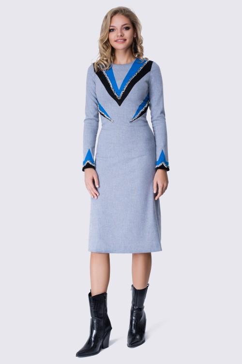 Платье голубое меланжевое с шерстью