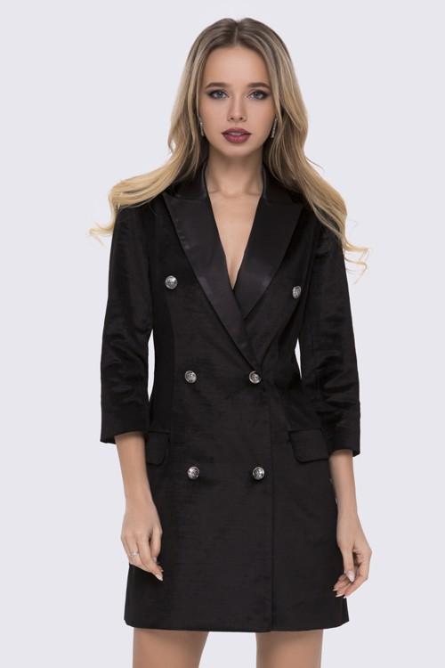 Платье-пиджак черное