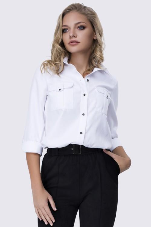 Рубашка белая c карманами