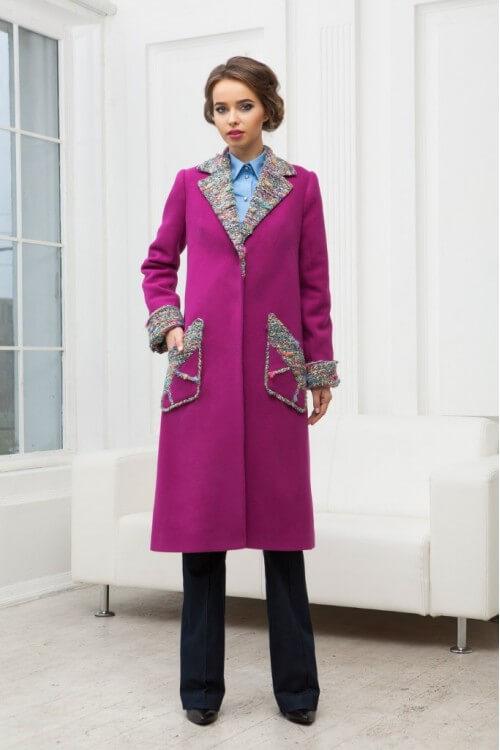 Пальто шерстяное розовое