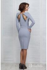 Платье декольте серое