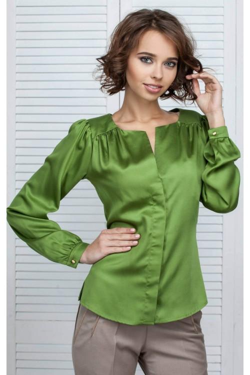 Блузка оливковая