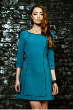 Платье бирюзовое с кантами