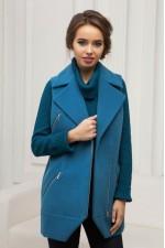 Пальто-жилет бирюзовое