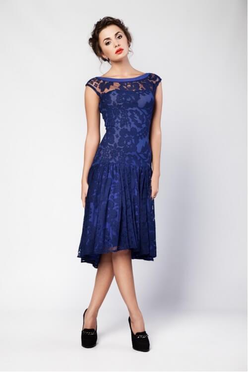 Платье  - SALE синее кружевное
