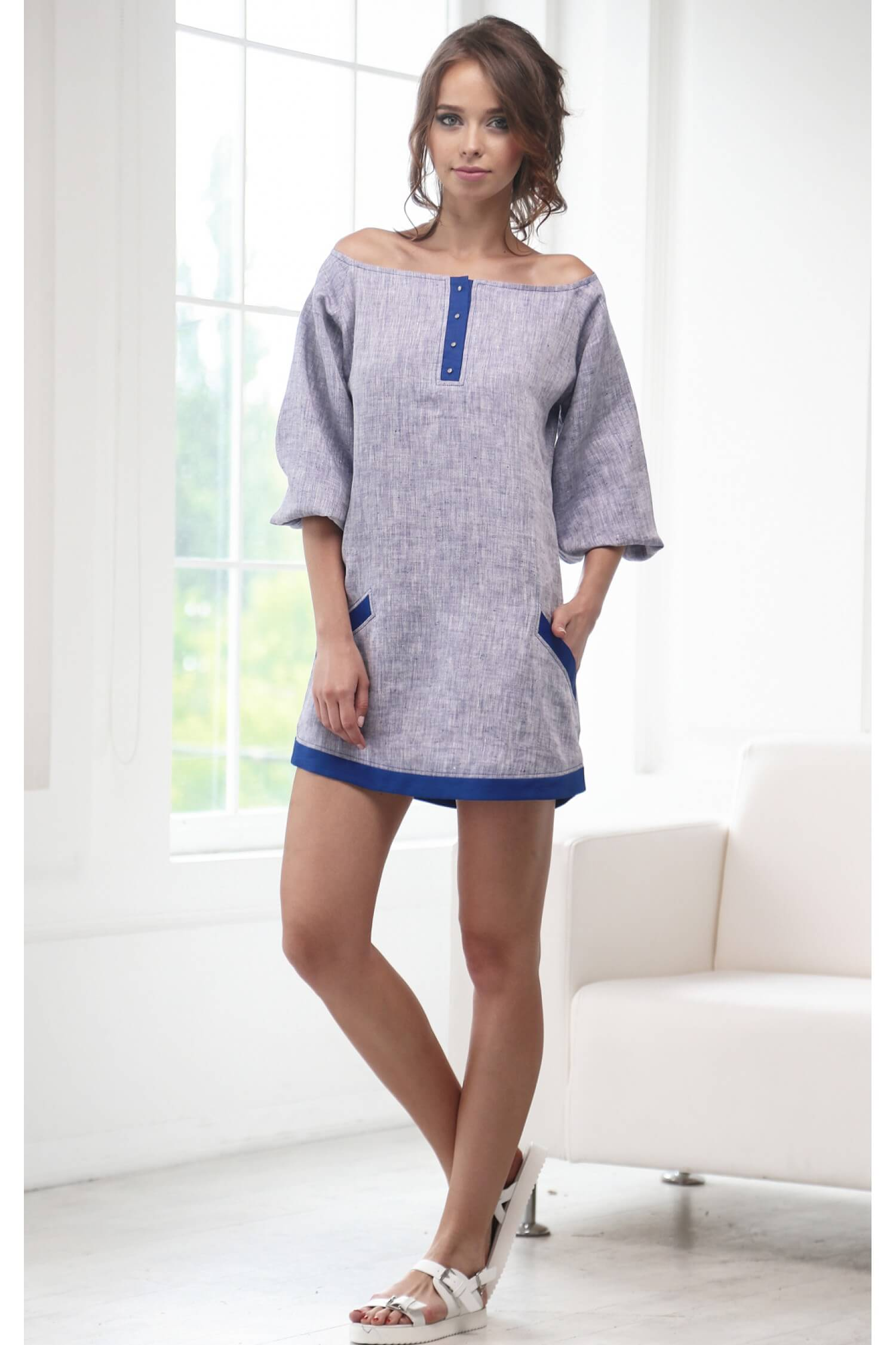 66ae0295388 Льняное платье синее L15-PLSn купить в Киеве и Украине