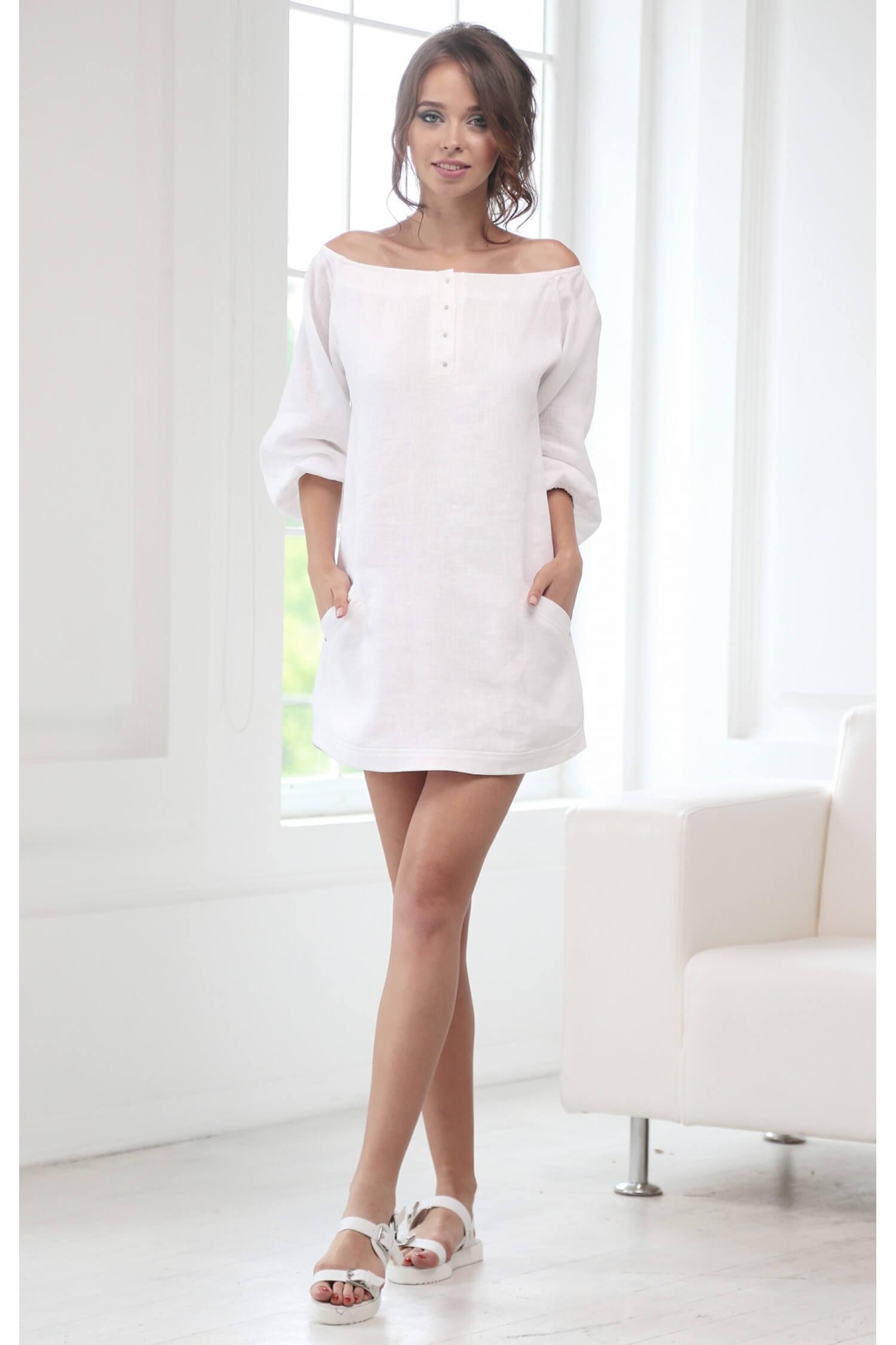 21dc8c6e12e Платье белое льняное L15-PLB купить в Киеве и Украине